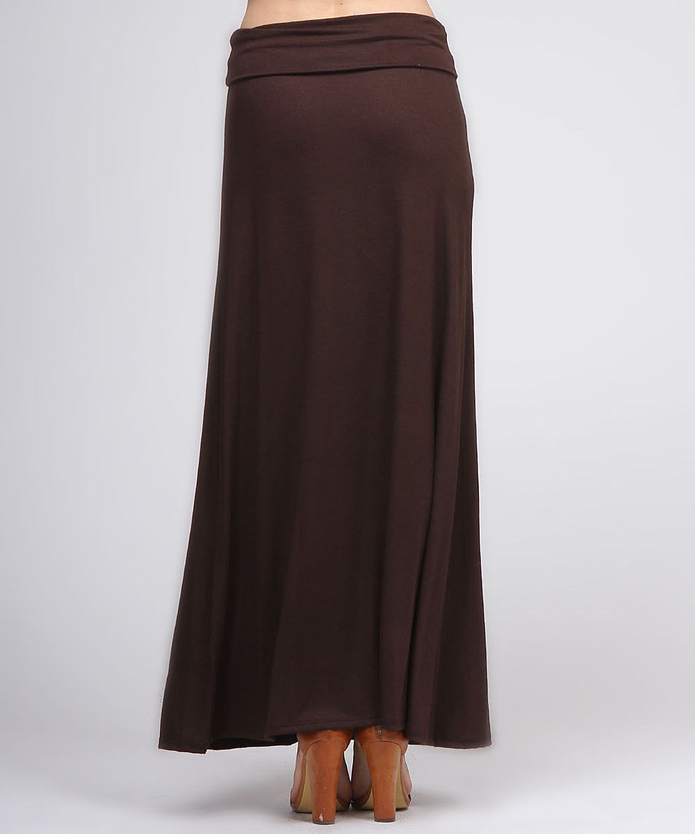 brown fold maxi skirt zulily