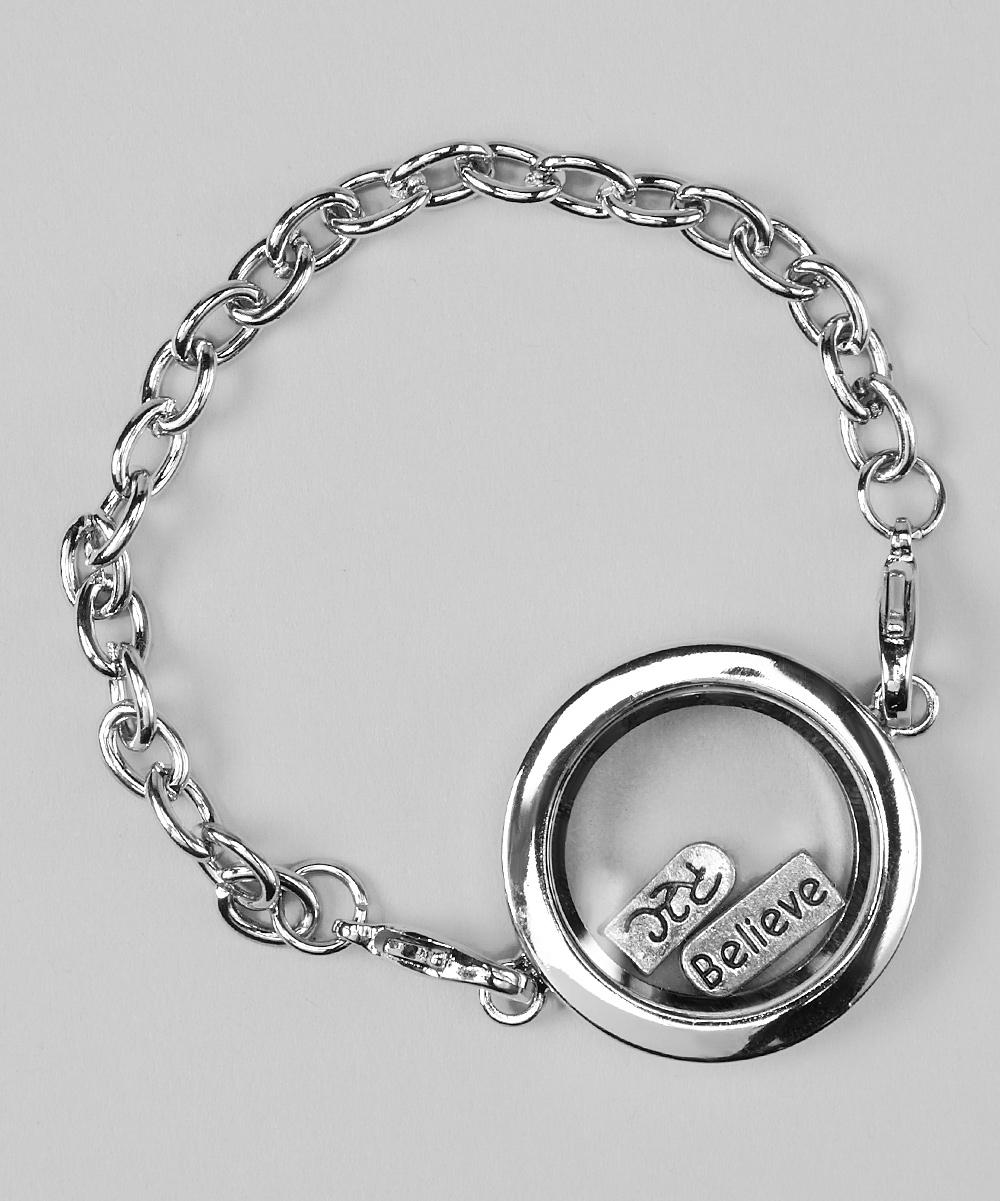 stainless steel floating locket bracelet charm set zulily