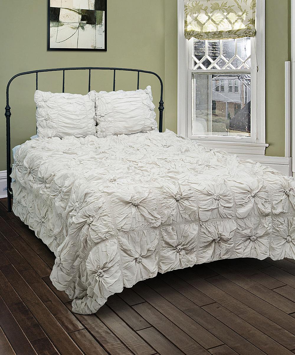 gray ruffle comforter set zulily