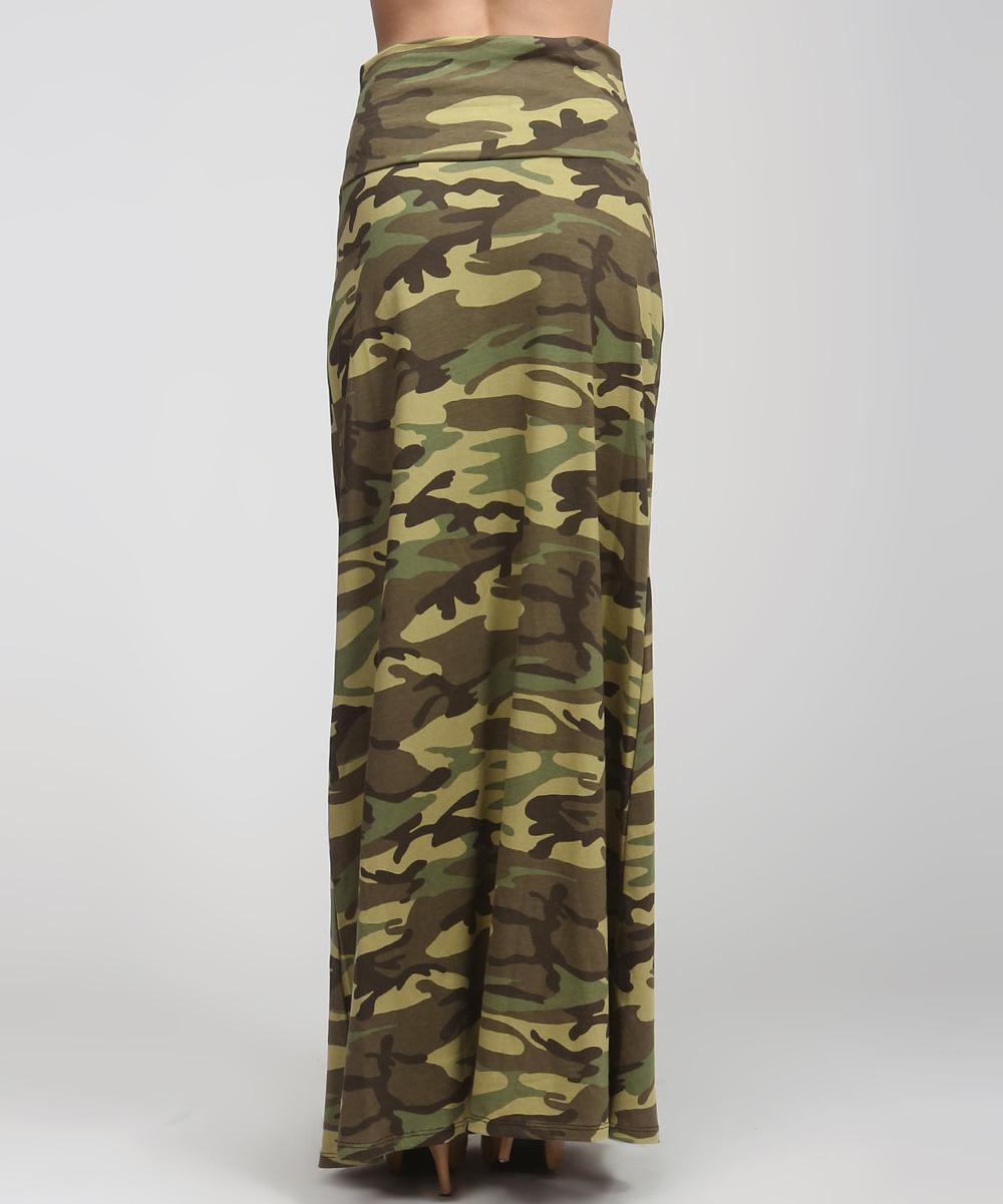 green camo maxi skirt zulily