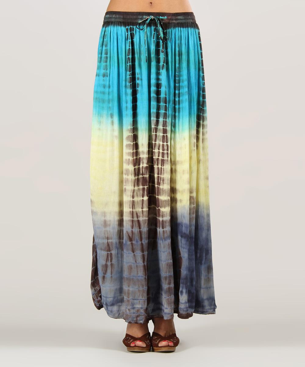 kushi by jasko turquoise navy tie dye maxi skirt zulily