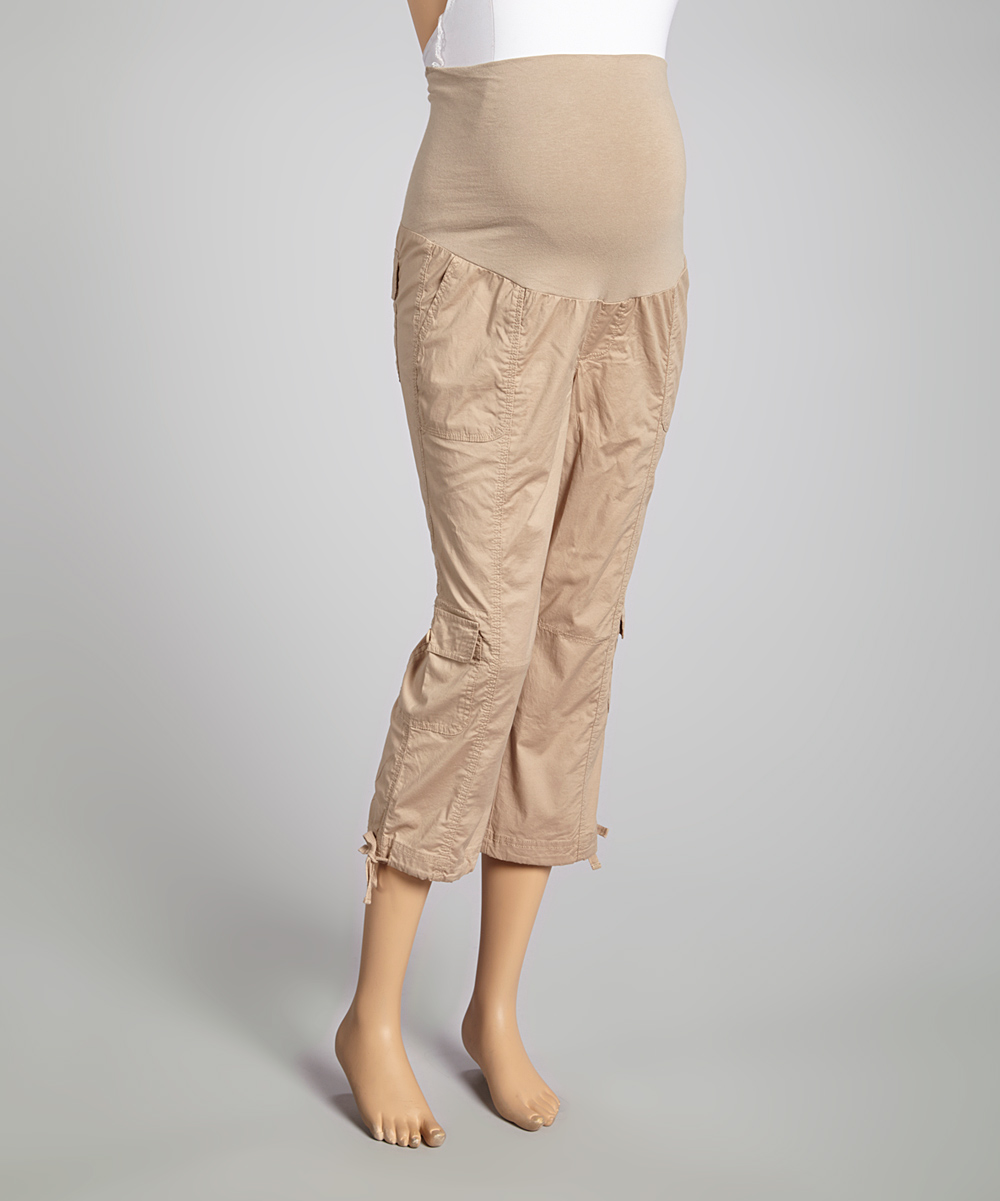 Khaki Capri Cargo Pants For Women 2017