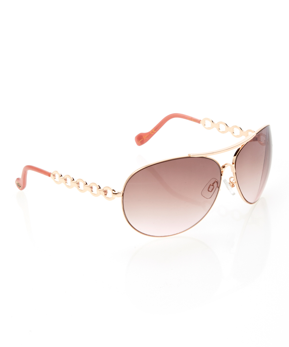 Jessica Simpson Collection Rose & Gold Chain Aviator ...