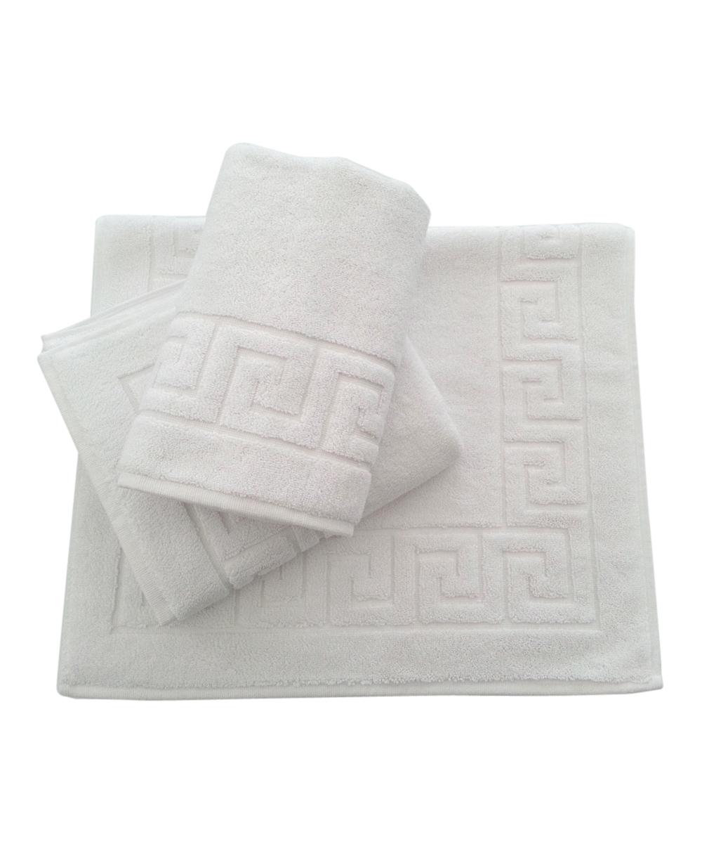 Bath Mat Sets White : White greek key bath mat set of three