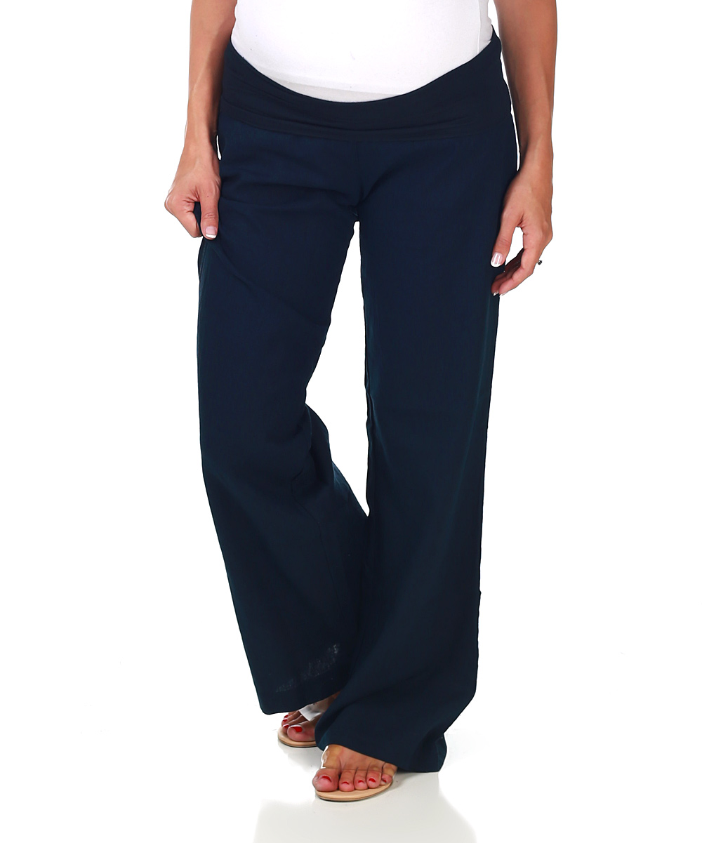 Perfect Navy Causal Linen Pants Women TrousersThis Dress Is Made Of Cotton Or Linen Fabric, Soft And Breathy, Suitable For Summer, So Loose Dresses To Make You Comfortable All The Time Navy Linen Pants With Buttoned Taper Detail Think