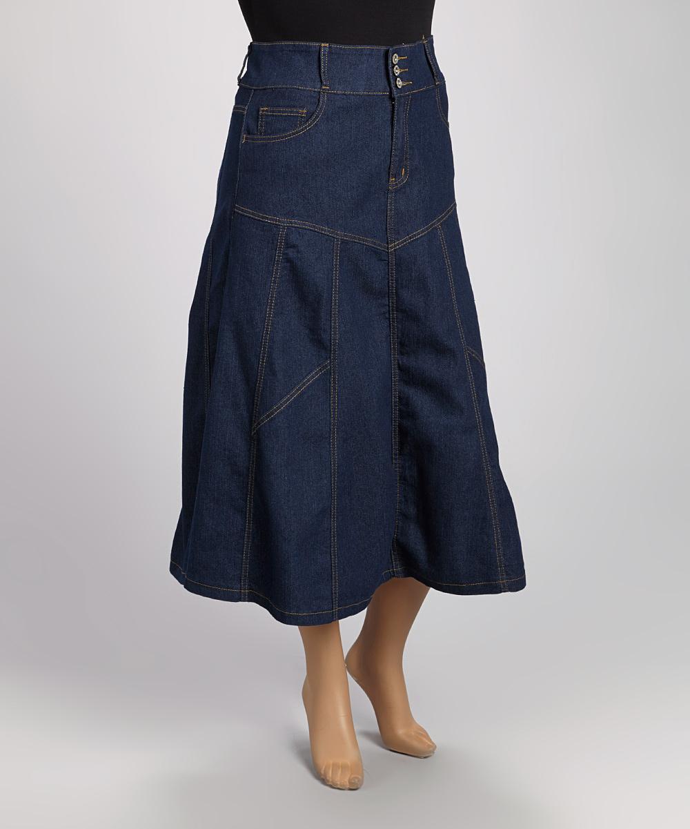 be indigo exposed seam denim maxi skirt plus