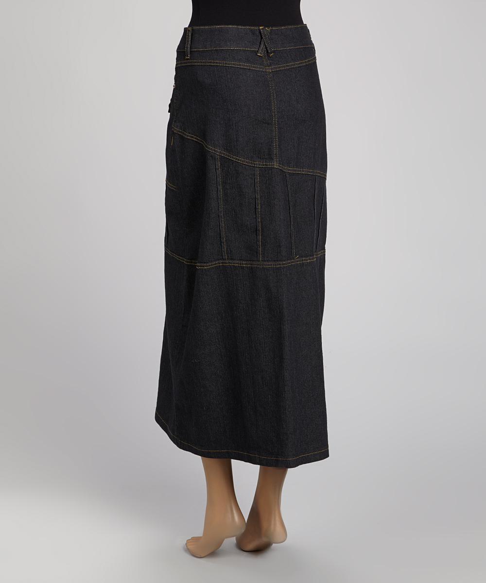 be clothing black denim pocket maxi skirt zulily