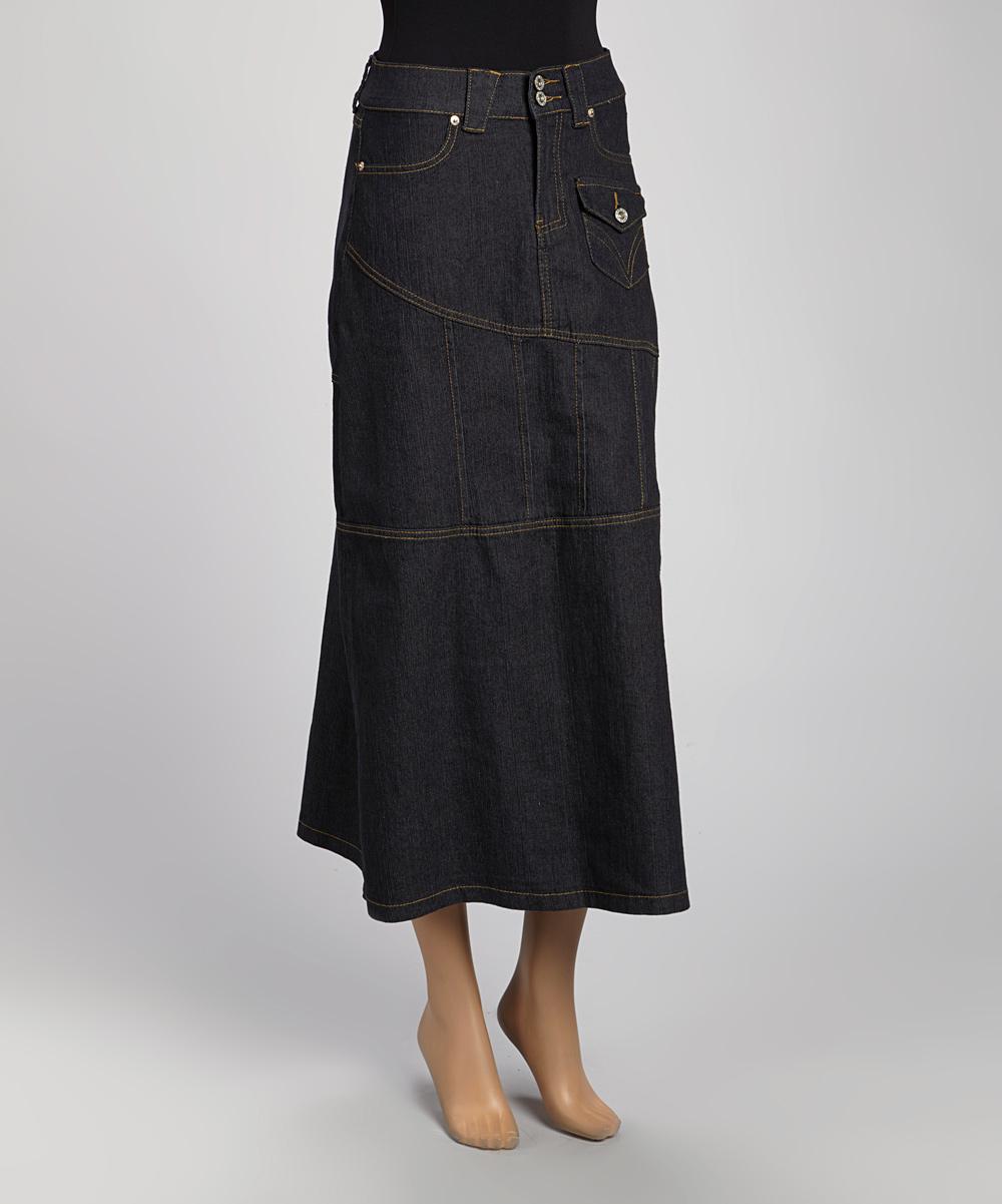 be black denim pocket maxi skirt zulily