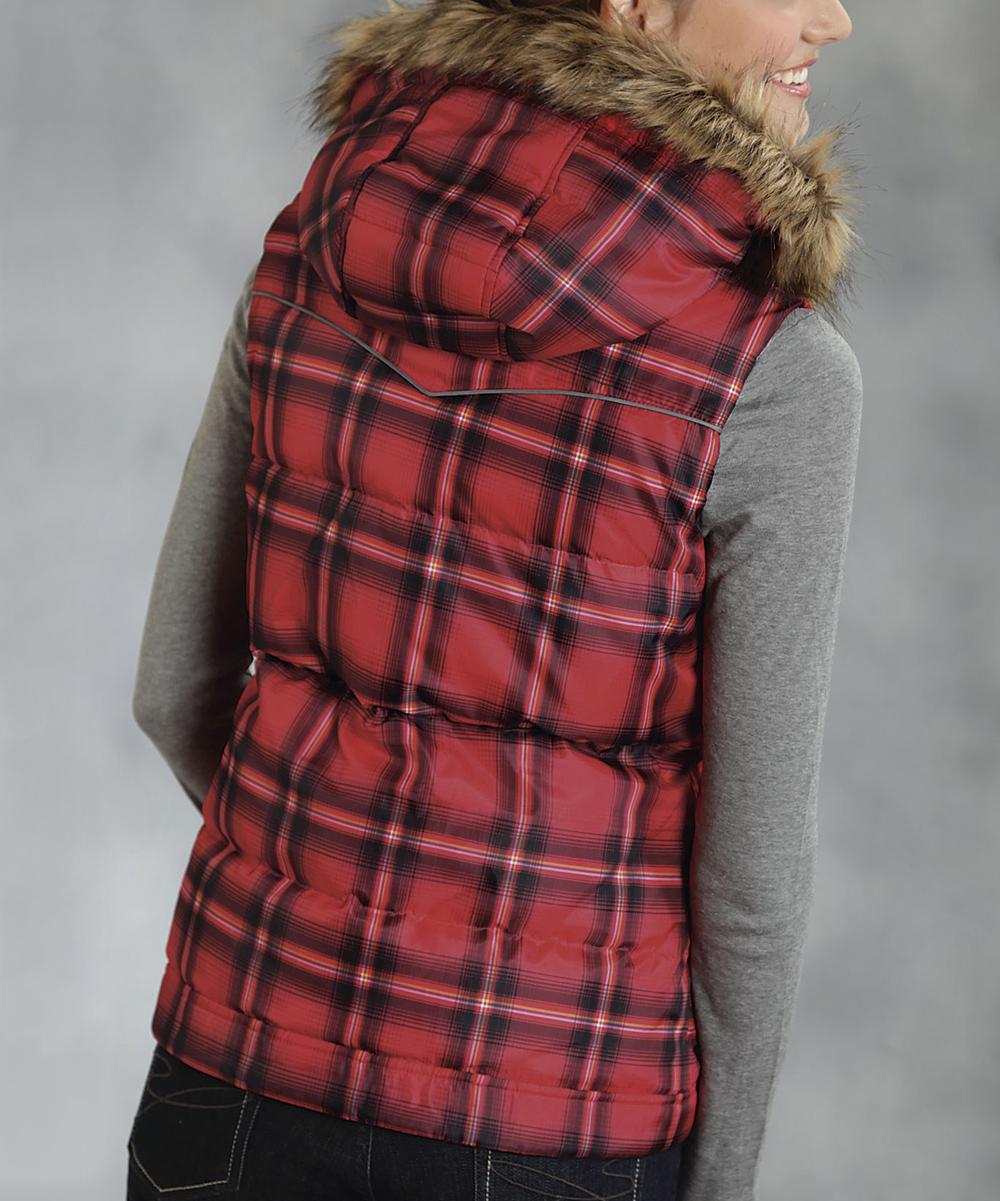 roper red plaid vest women zulily. Black Bedroom Furniture Sets. Home Design Ideas