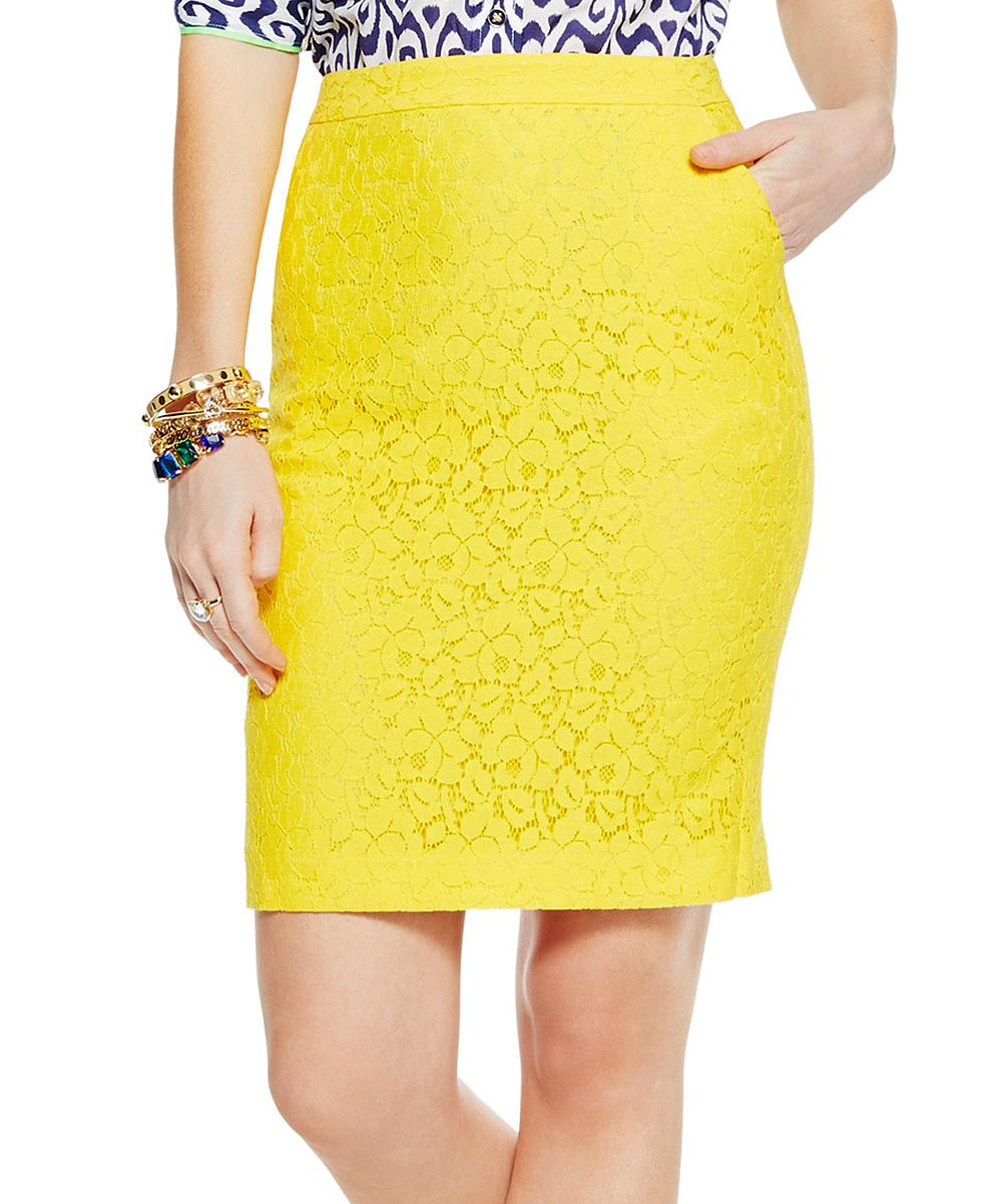 c sunflower yellow lace pencil skirt zulily