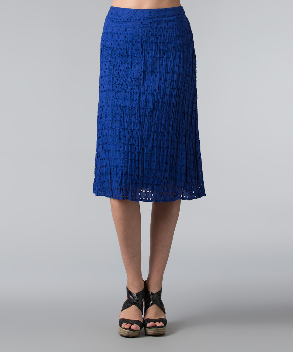 vasna royal blue eyelet a line skirt zulily