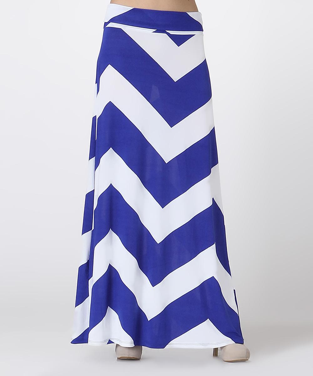 bold beautiful blue white chevron maxi skirt plus