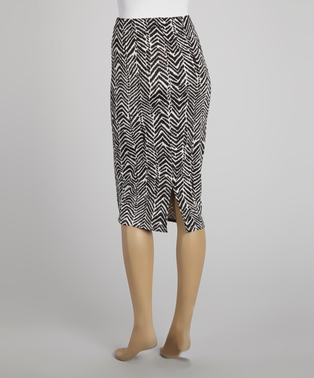 angele ricky black white abstract zigzag pencil skirt