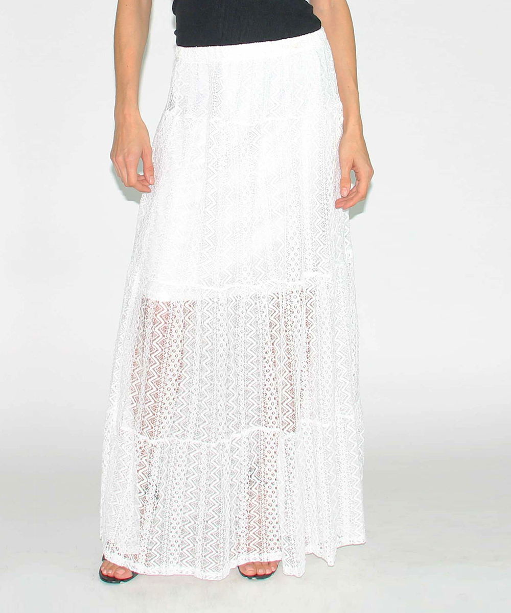 design 26 white sheer lace maxi skirt zulily