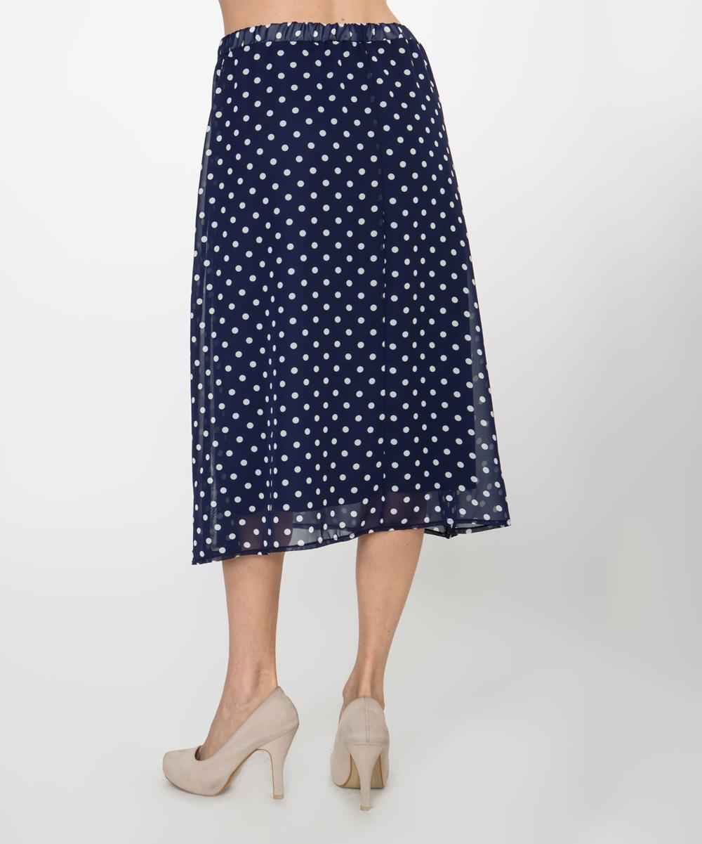 lara fashion navy polka dot midi skirt zulily