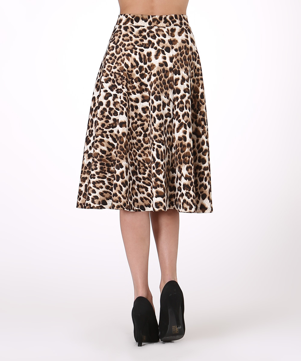 lara fashion black leopard a line skirt zulily