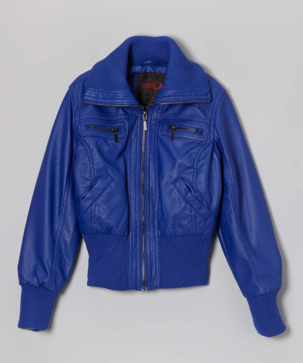 Yoki Royal Blue Faux Leather Bomber Jacket Toddler