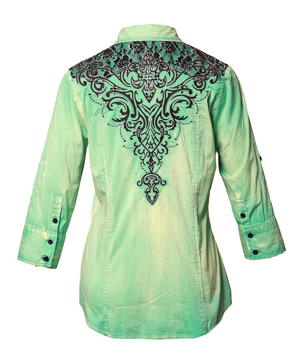 Roar Clothing Mint Patron Saint Button-Up - Women | zulily