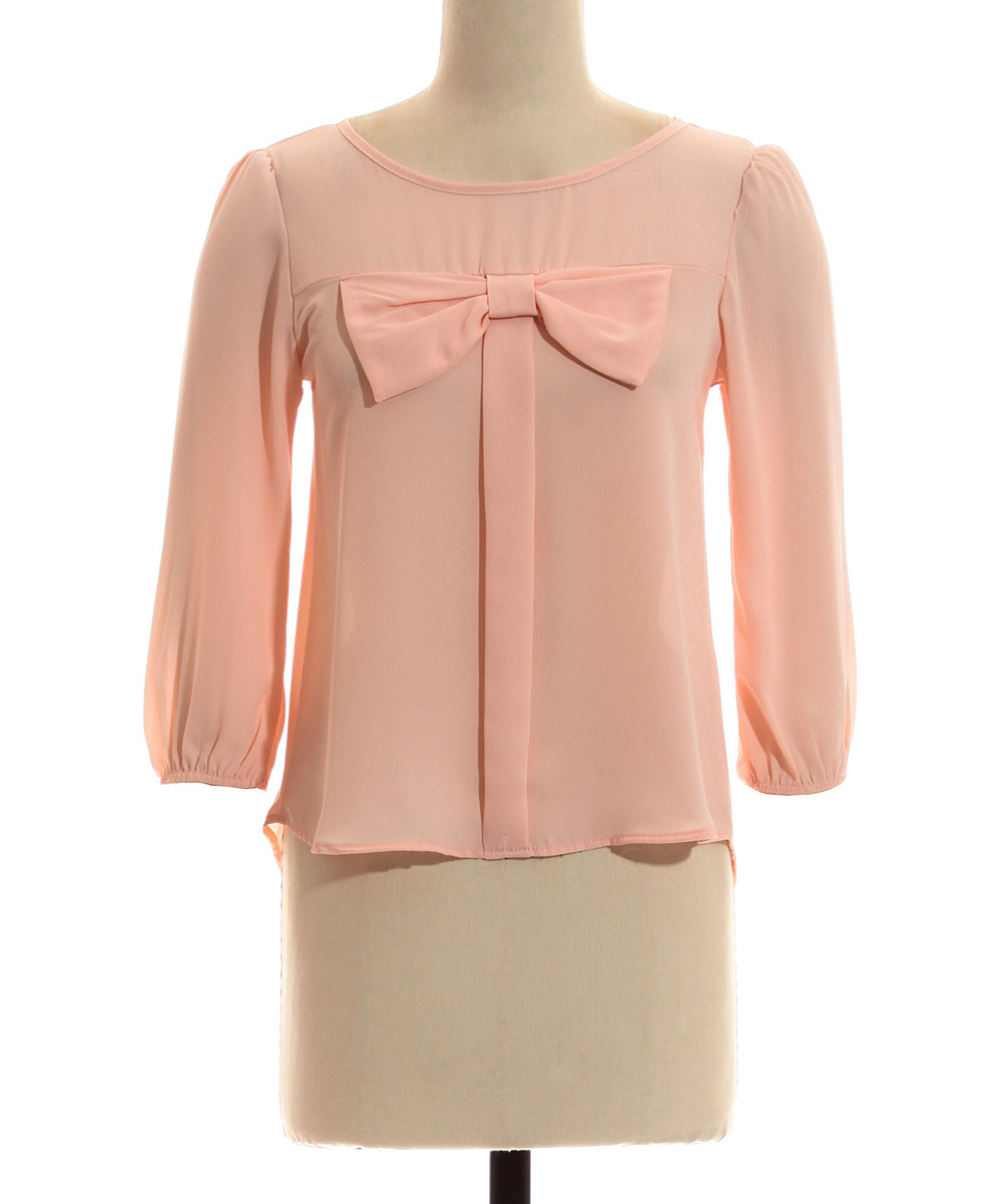 coveted clothing peach bow top zulily