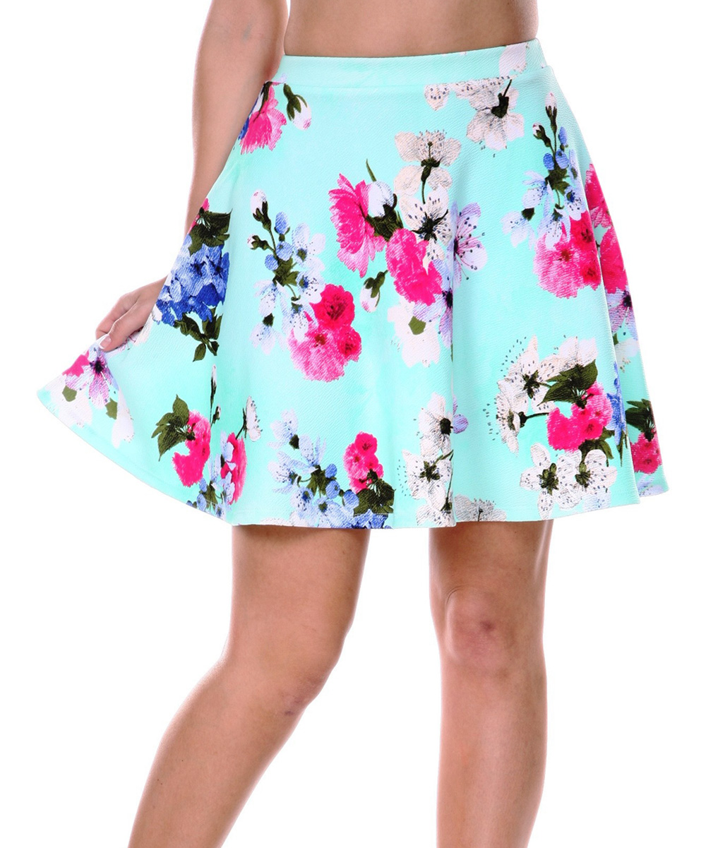 Wonderful Women39s Floral Embroidery Rivet Detail Skirt  ACHICGIRLCOM