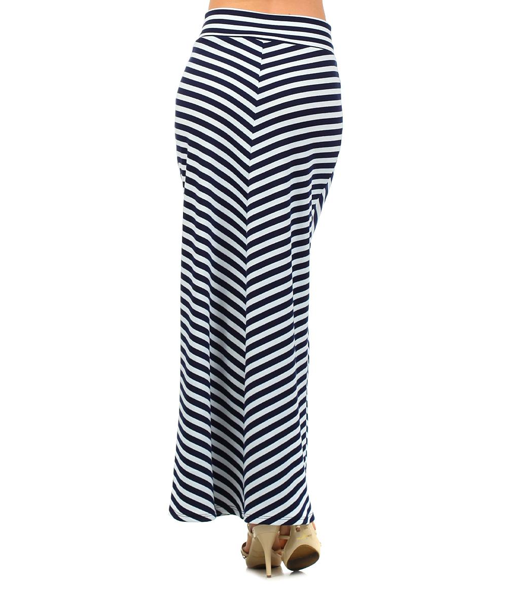 j mode usa los angeles navy white chevron maxi skirt