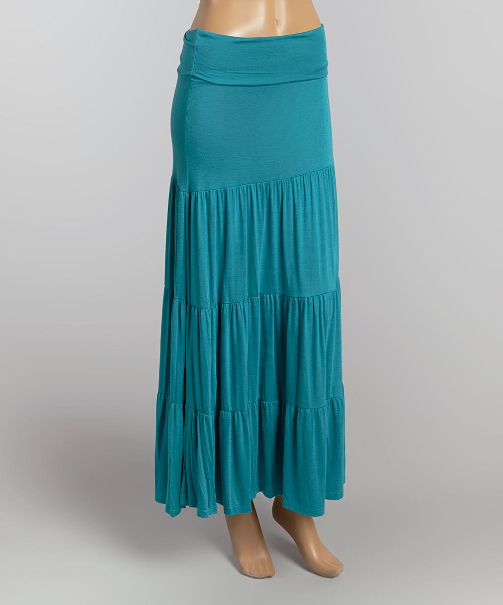 chris carol turquoise ruffle maxi skirt zulily