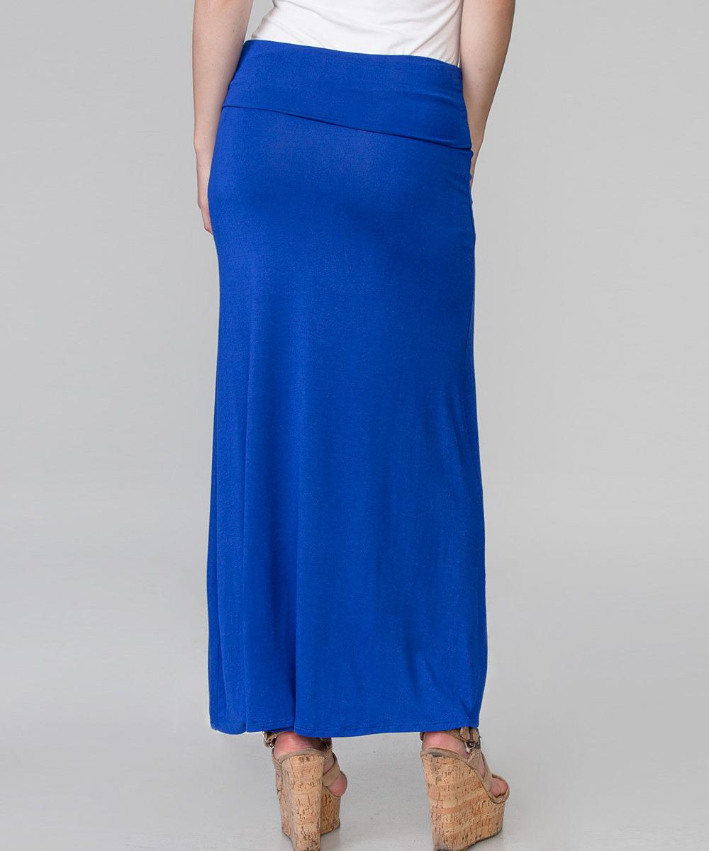 magic fit royal blue stretch maxi skirt zulily