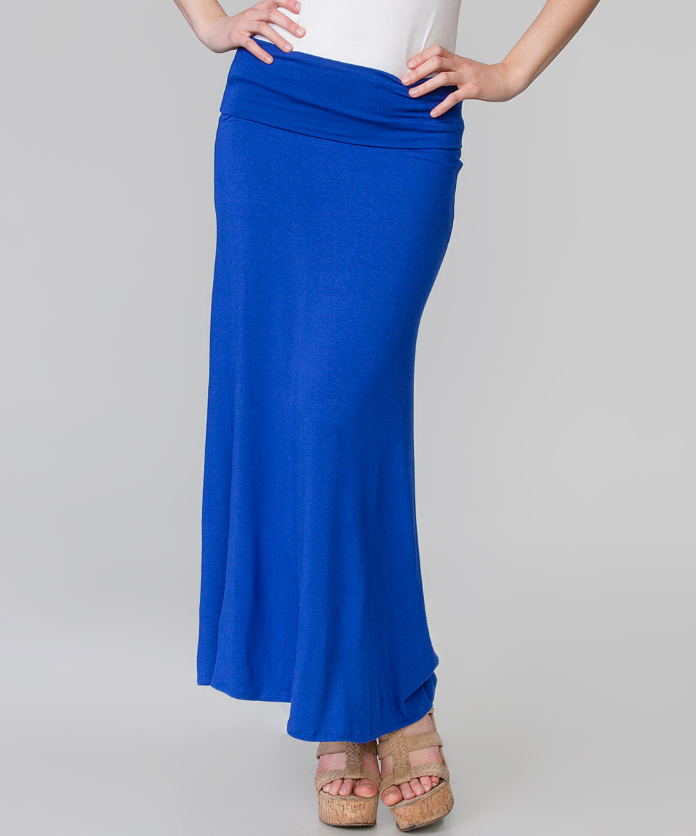 magic fit royal blue stretch maxi skirt zulily