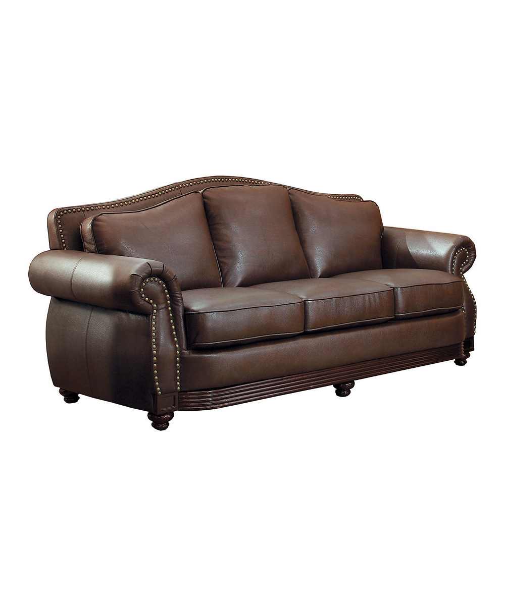 HomeBelle Chocolate Leather Living Room Furniture Set