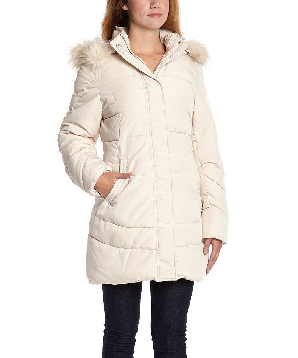 Steve Madden Ivory Faux Fur-Trim Long Puffer Jacket | zulily