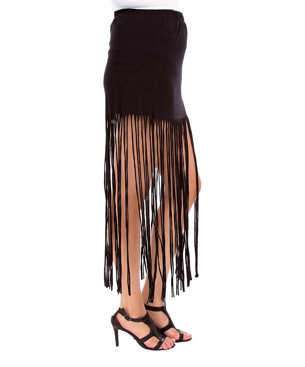 black fringe maxi skirt plus zulily