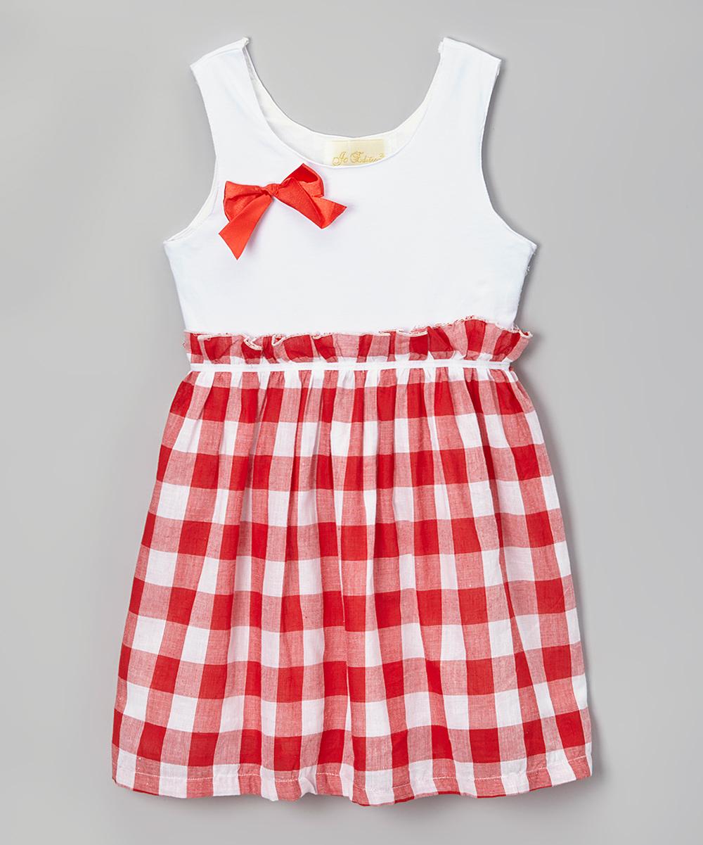 Red amp white plaid babydoll dress toddler amp girls