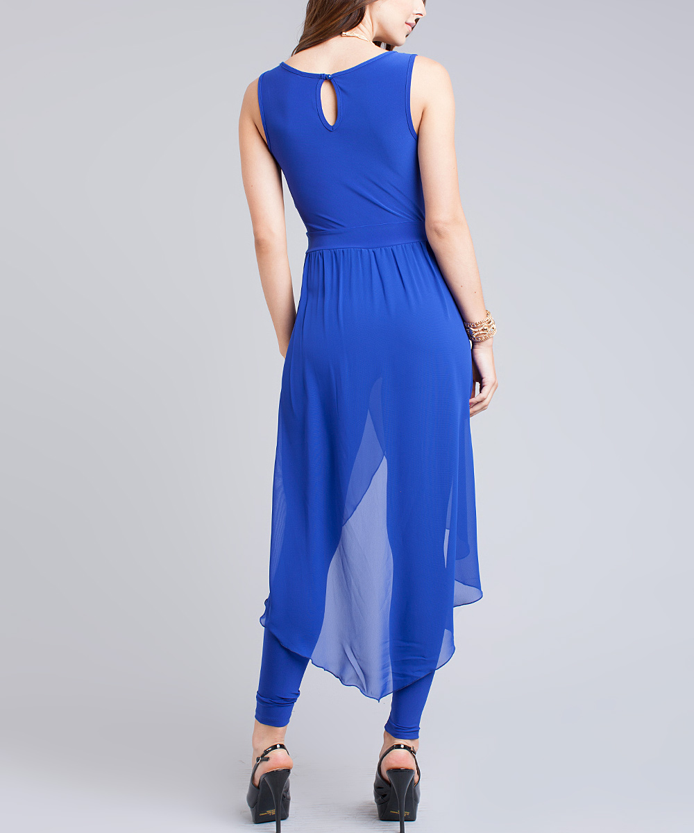 Cool ROYAL BLUE LOW CUT VNECK VERSATILE JUMPSUITLatest Fashion Rompers