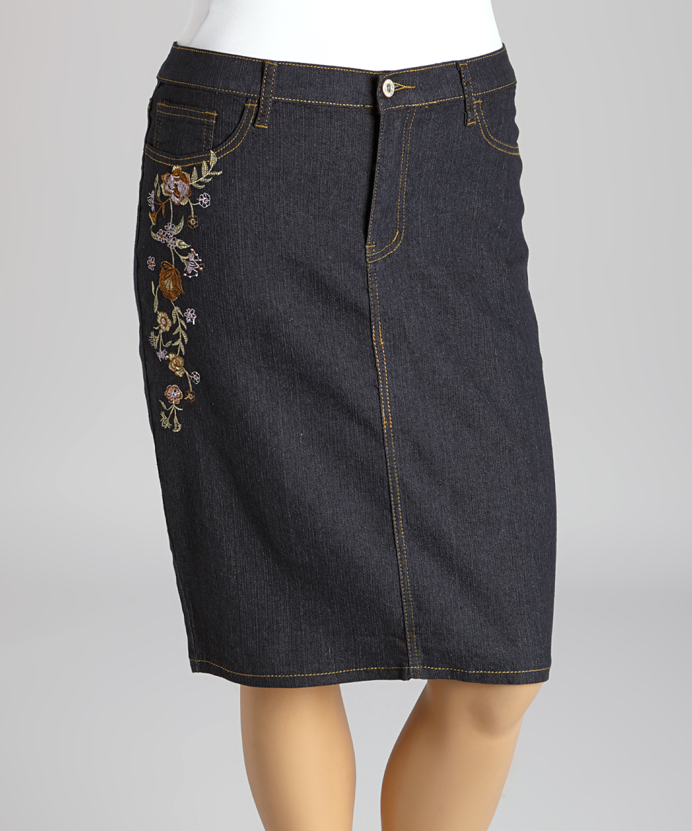 be clothing black floral embroidered denim pencil