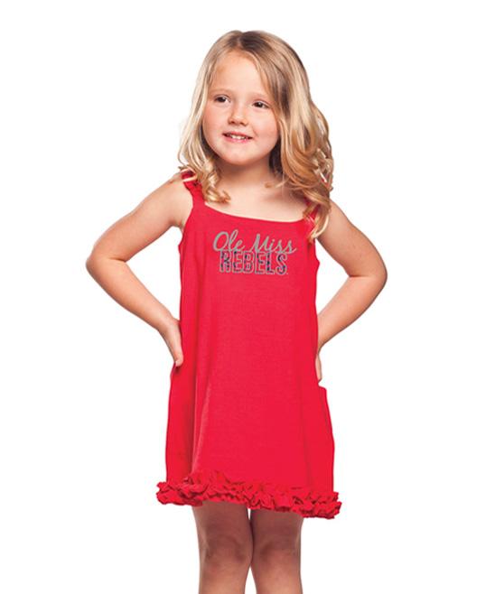Ole miss rebels ruffle a line dress toddler amp girls zulily