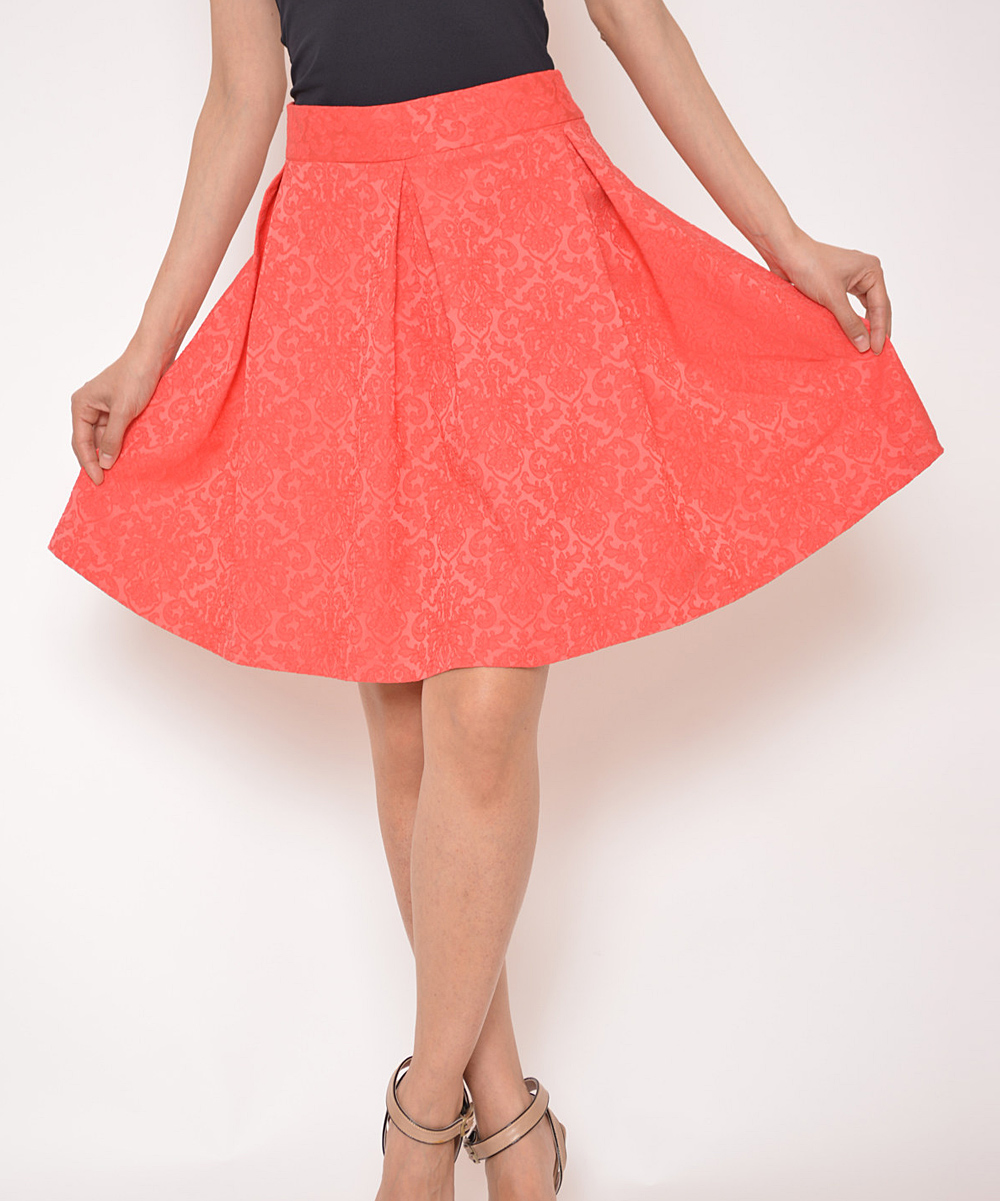 top image coral pleated a line skirt zulily