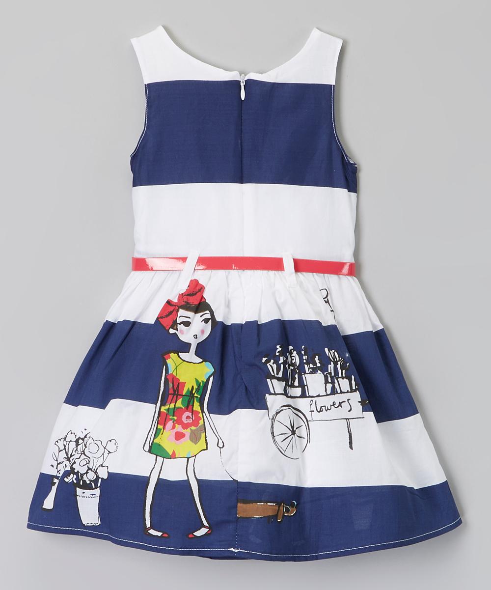 poco picotine blue white stripe belt dress