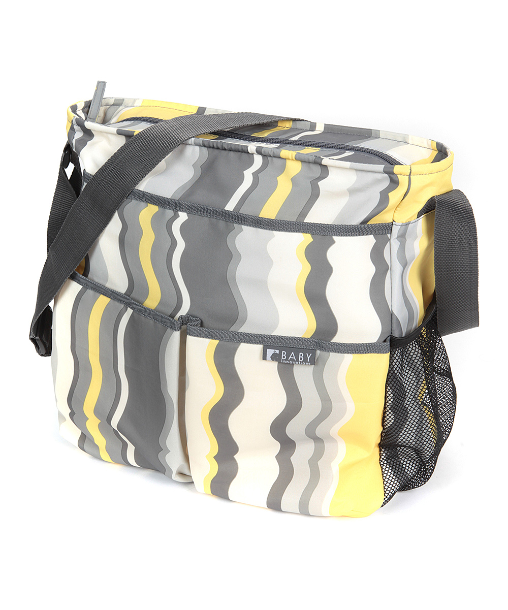 baby innovations gray yellow arabesque jordan messenger diaper bag zulily. Black Bedroom Furniture Sets. Home Design Ideas