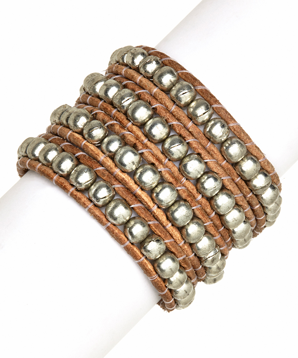 brown silver beaded leather wrap bracelet zulily