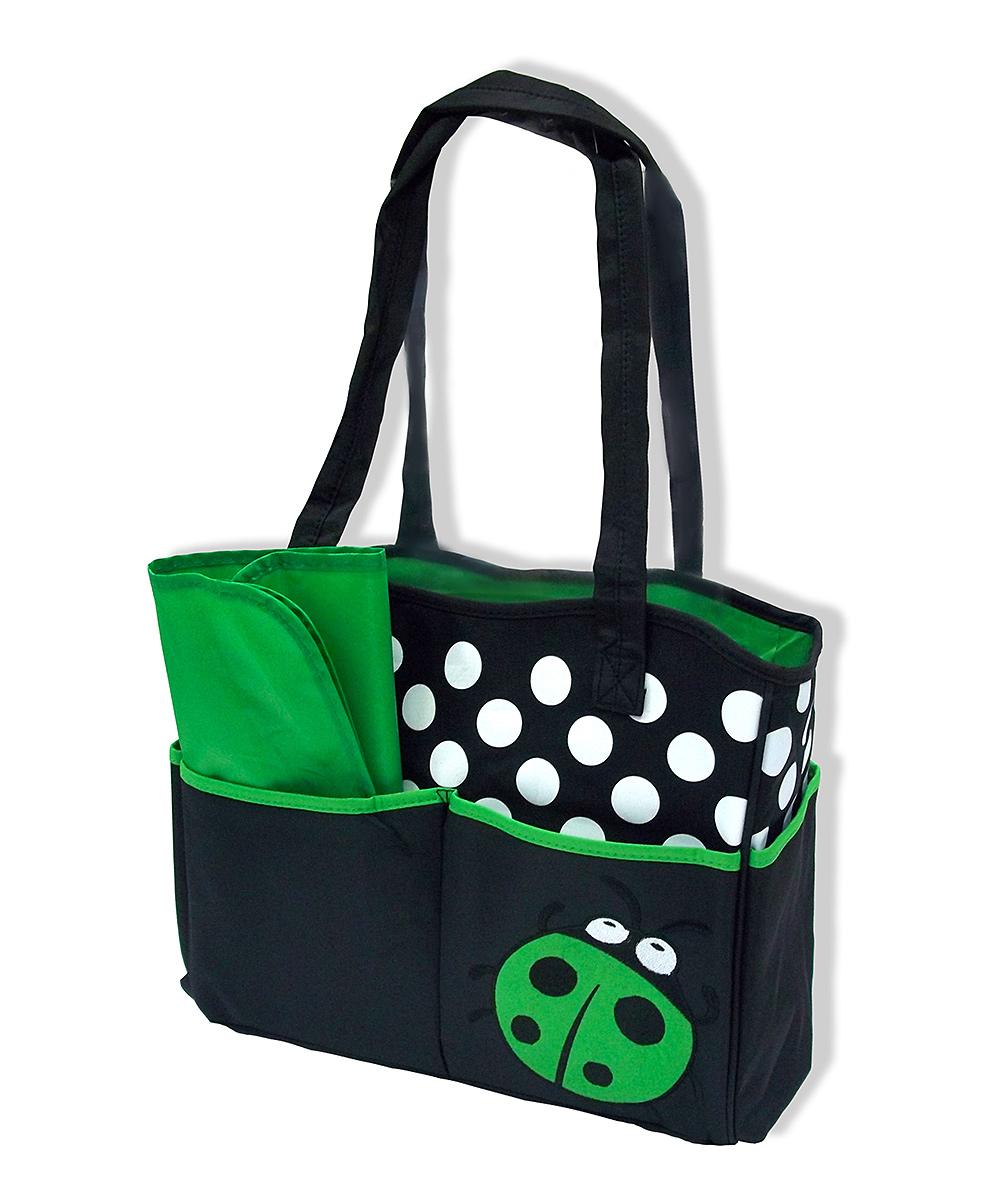 jumpn splash green black ladybug diaper bag changing. Black Bedroom Furniture Sets. Home Design Ideas