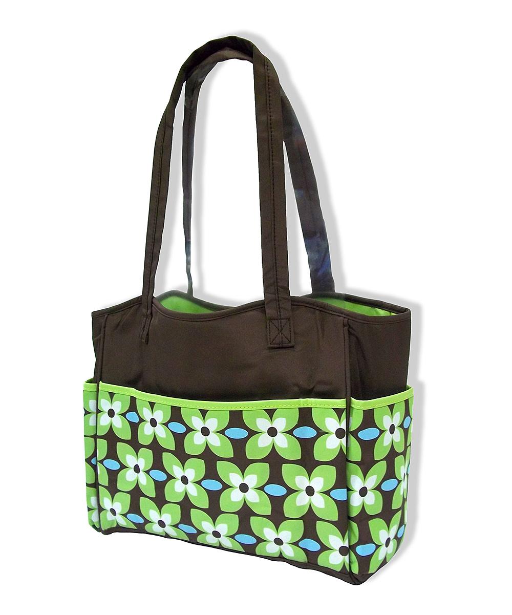 jumpn splash green floral diaper bag changing pad zulily. Black Bedroom Furniture Sets. Home Design Ideas