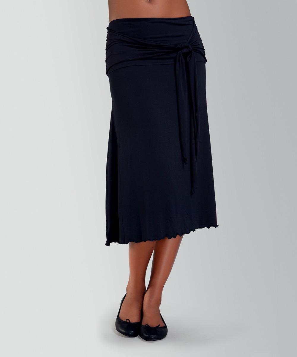 amoena black wrap midi skirt zulily