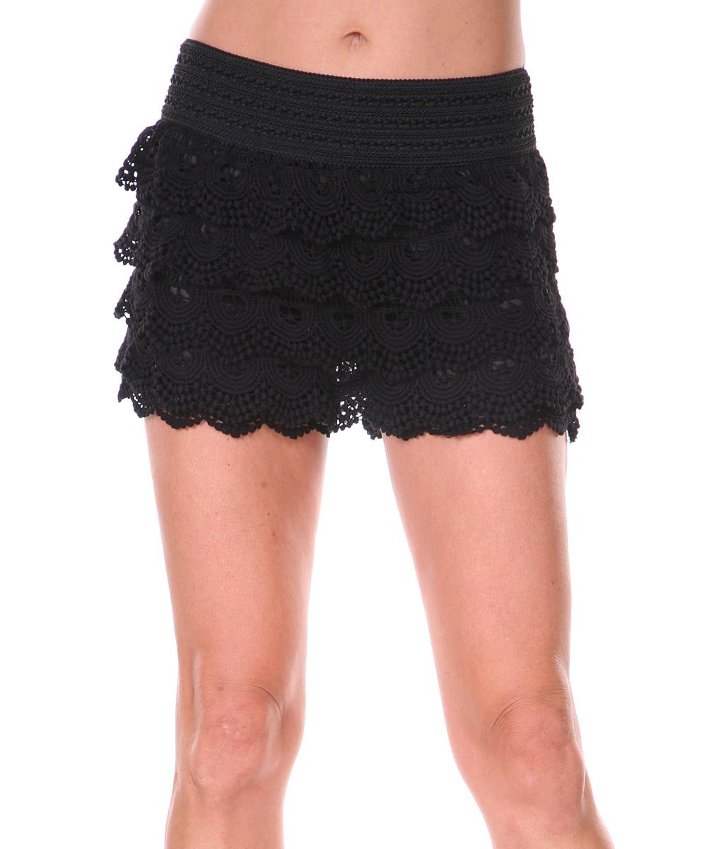 Black Crochet Layered Shorts