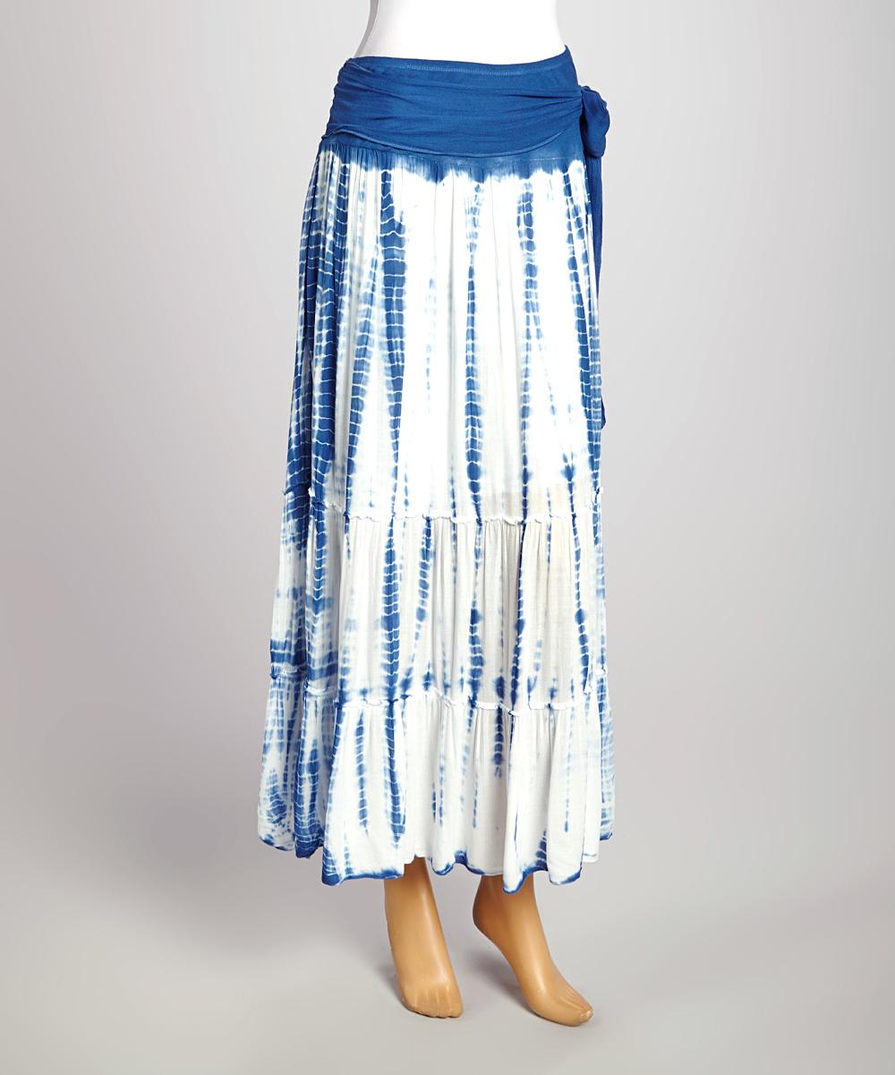 lapis blue white tie dye maxi skirt zulily