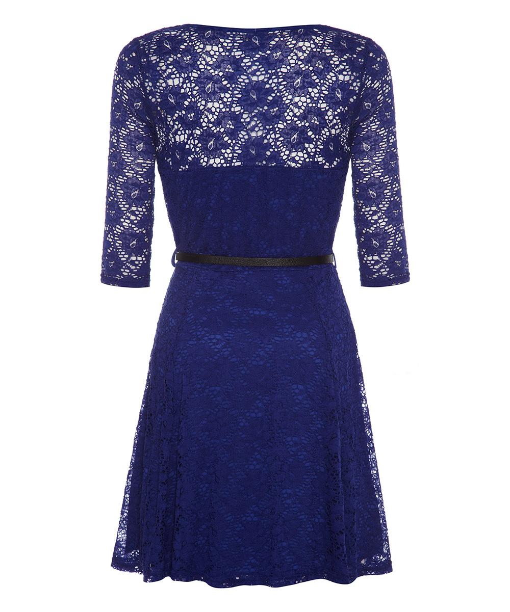 iska blue belted lace a line dress zulily