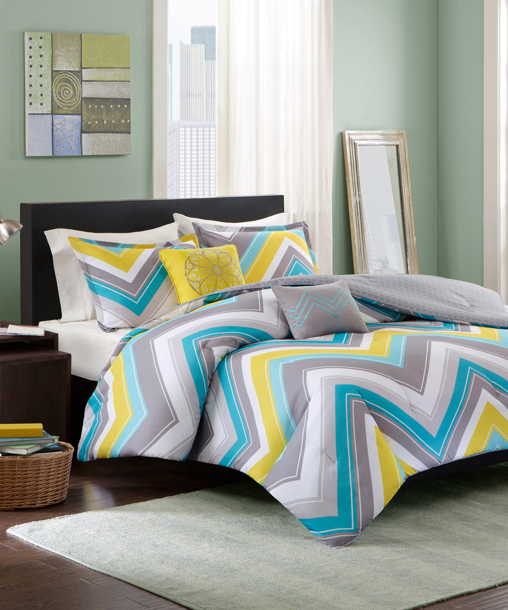Yellow blue comforter set zulily - Blue and yellow bedding sets ...