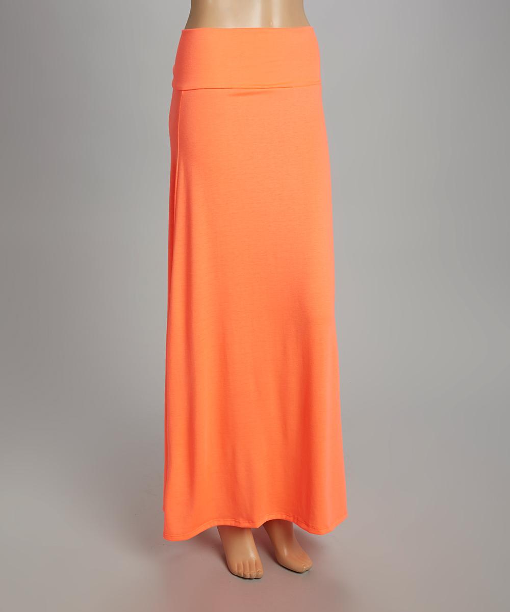 hips neon orange maxi skirt zulily