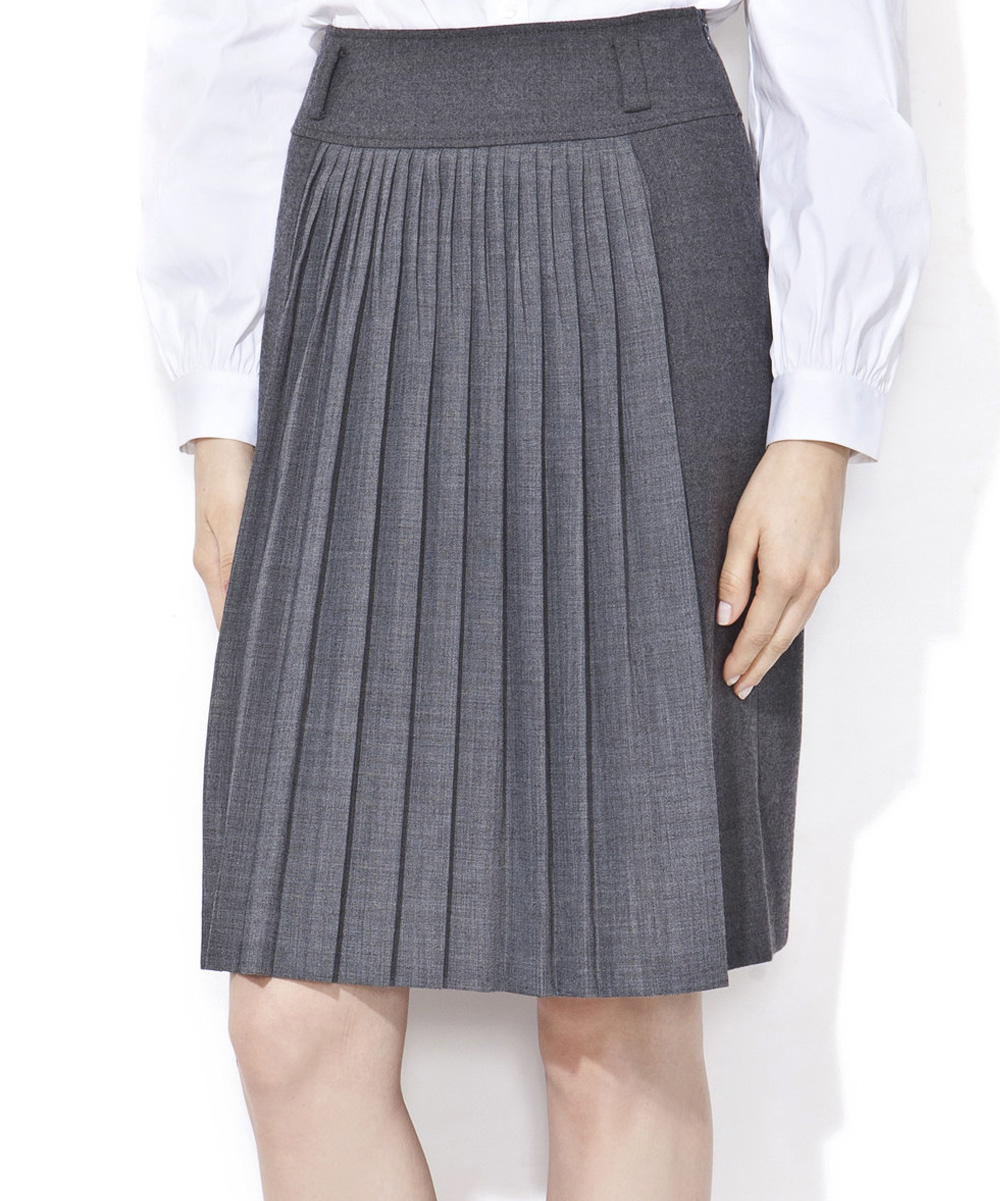 deni cler gray pleated wool blend skirt zulily