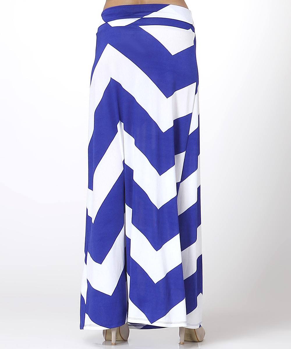 royal blue white bold zigzag maxi skirt zulily