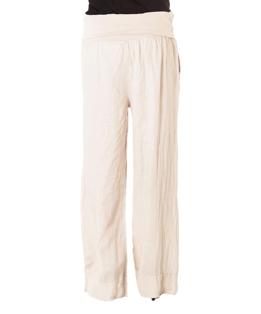 Creative Beige Blue Women Pants Linen Trousers Cotton Pants Wide Leg Women